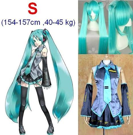 VOCALOID,Hatsune Miku Cosplay Traje+120cm peluca, tamaño S (altura ...