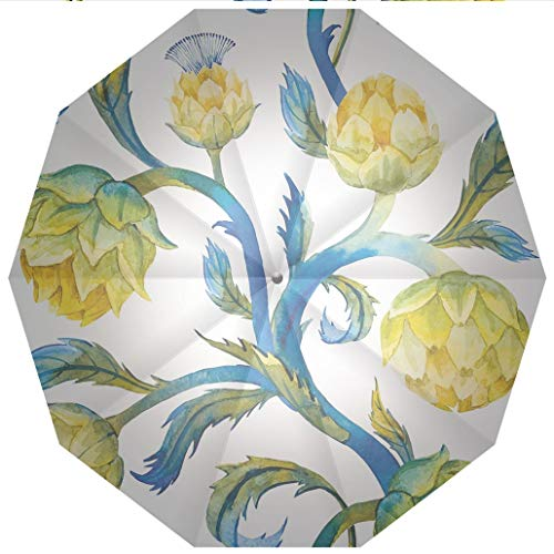 10 Ribs Travel Umbrella UV Protection Auto Open Close Artichoke,Watercolor Abstract Flowers Natural Foods Organic Way of Life Windproof - Waterproof - Men - Women -Lightweight- 45 inches