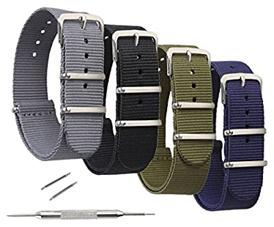 Nylon Watch Bands,4 Pack Ballistic Nylon Replacement Watch Straps 18mm 20mm or 22mm