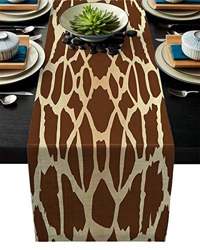 (Olivefox Linen Burlap Table Runner, 14x72 Inch Farmhouse Table Runners for Summer Parties, Dining Room, Home Kitchen, Wedding Decorations - Machine Washable, Animal Giraffe Textured Print Brown)
