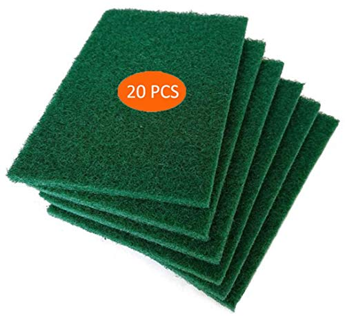 Scouring Pads - Heavy Duty Household Cleaning Scrubber with Non-Scratch Anti-Grease Technology - Reusable (10 PACK) ()