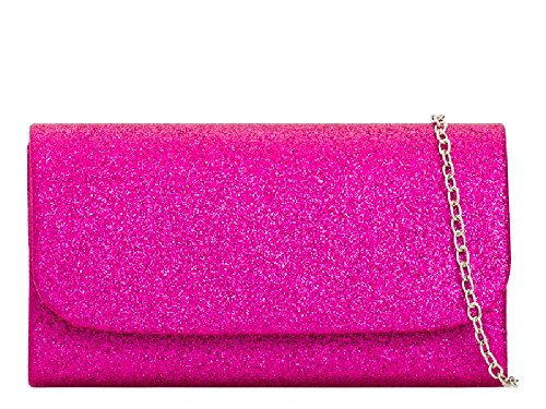 amp; Girls Glitter Purse Kh731 Clutch Bag Women's Envelope Fuchsia Glittery Evening Handbag Ladies Cute An1AS