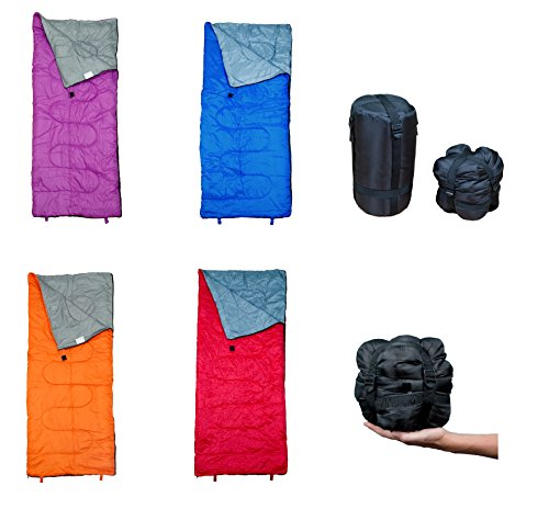 Lightweight Sleeping Bag by RevalCamp. Indoor & Outdoor weather. Great for Kids, Boys, Girls, Teens & Adults. Ultralight and compact bags are perfect for hiking, backpacking, camping & travel.