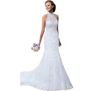 d7b682ad6d9 DingDingMail Vintage Lace Mermaid Wedding Dresses 2019 High Neck Covered  Button Vintage Halter Wedding Dresses Bridal