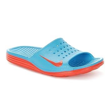 8ac37f56e1bc5 Nike Herren Badeschuhe SOLARSOFT SLIDE Badelatschen blau   rot ...