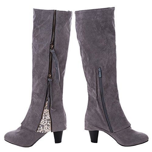 Ifantasy Knee High Boots For Women Suede Chunky Heel Round Toe Zip Riding Boots Grey llkCUY55bR