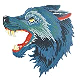 18x18 cm/7x7 inches Appliques Patches Iron On Patterns Print Embroidery Sewing Craft Supplies Machines Designs Logo Cloth Hat Bag DIY Decor (Roaring Wolf)