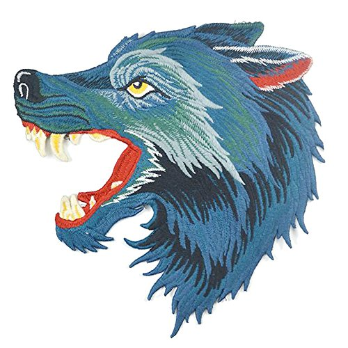 18x18 cm/7x7 inches Appliques Patches Iron On Patterns Print Embroidery Sewing Craft Supplies Machines Designs Logo Cloth Hat Bag DIY Decor (Roaring Wolf) by SXM