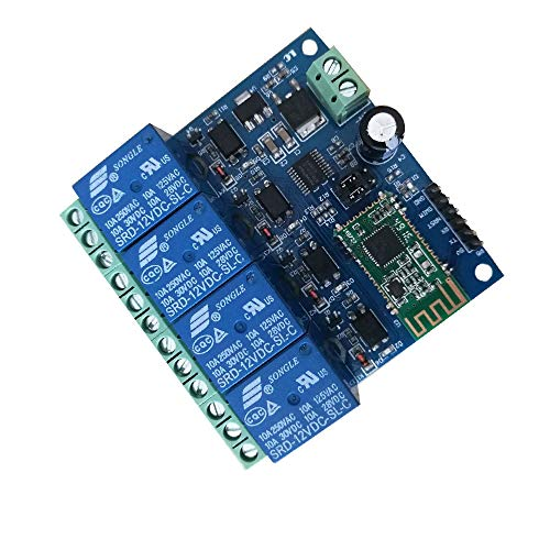 (DSD TECH 4 Channels Bluetooth Relay Module for Remote Control Switch Compatible with iPhone and Android 4.3 (12V))