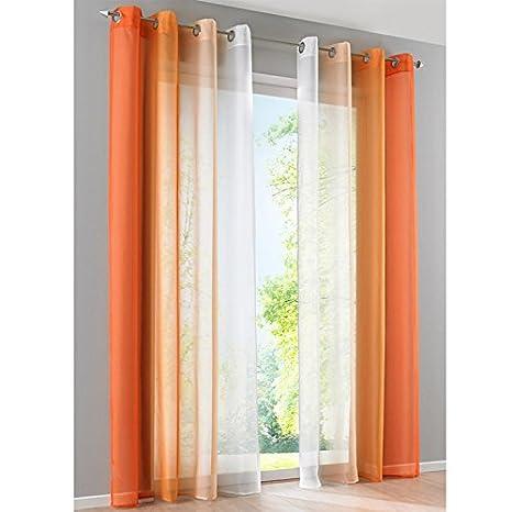 SIMPVALE 2 Tende in Garza Sfumature di Colore in Voile Trasparente Poliestere arancione/&bianco Larghezza 140cm Altezza 145cm