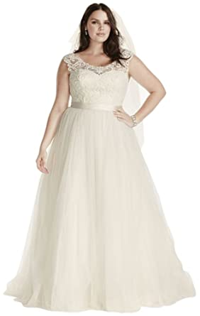 Tulle Plus Size Wedding Dress with Lace Cap Sleeve Style ...