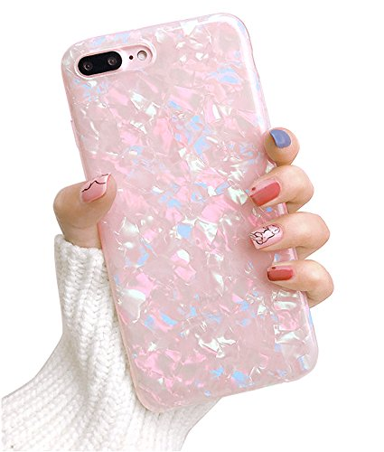 Dailylux iPhone 8 Plus Case,iPhone 7 Plus Case,Glitter Pearly-Lustre Translucent Shell Pattern Sparkle Bling Crystal Clear Soft TPU Back Cover for iPhone 7 Plus/8 Plus 5.5