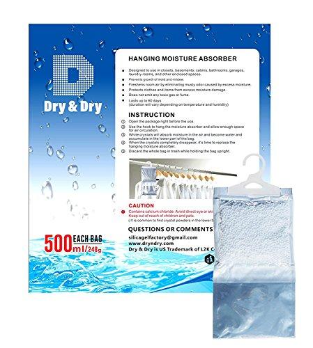 [해외]실, 욕실, 세탁실 및 동봉 물을위한 과도한 수분, 곰팡이 및 곰팡이를 조절하는 6 리터 프리미엄 교수형 습기 흡수기/DRY&DRY 6 pack Premium Hanging Moisture Absorber to Control Excess Moisture, Mold, and Mildew for Basements, Bathroom...