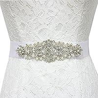 Trlyc New White/Blush Bridal Wedding Dress Rhinestone Vintage Beaded Crystal Belt Sash