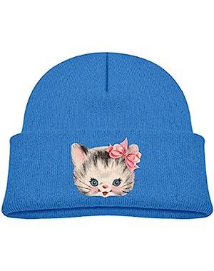 Kids Knitted Beanies Hat Cute Naughty Kitty Cat Winter Hat Knitted Skull Cap for Boys Girls Blue