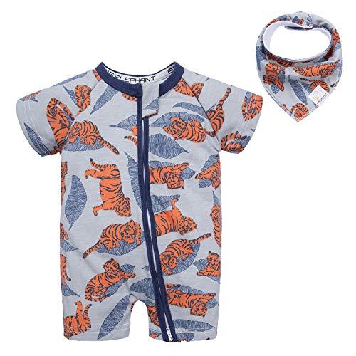 BIG ELEPHANT Baby Boys 1 Piece Short Sleeve Pajama Tiger Print Zipper Romper Q10 Tiger 6-9 Months ()