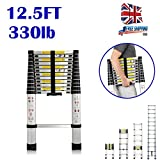 DIY 12.5ft (3.8m) Telescoping Ladder Climb Home Builders Attic Loft Work Place Extendable Collapsible Lightweight, 150kg (330lb) 13 Steps