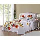 Ellison Flower Garden Chenille, Twin, White Bedspread