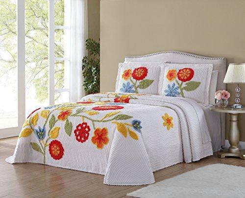 Ellison Flower Garden Chenille, Queen, White Bedspread from Ellison