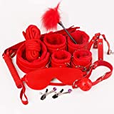 10 pcs Bed Restraints Set - Includes Satin Blindfold, Adjustable to Fit All People Sizes - Strong and Durable Exercise Bands - Suitable for Men and Women,Red
