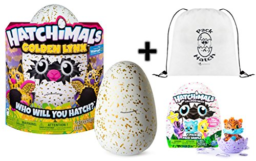 Hatchimals Golden Lynx With   Colleggtibles Blind Bag  Season 1    Pack A Hatch Cinch Backpack Combo   A Gold Egg Hatch Surprise
