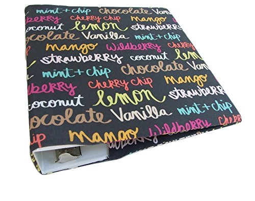 Three Ring Binder Accessories ICE CREAM FLAVOR, Stretch Fabric Binder Cover for 2 - 3 in Wide Binder, Recipe Binder 8.5 x 11