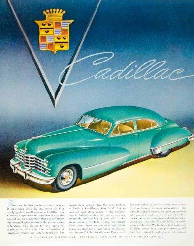 1947 Ad Cadillac Car Automobile Automotive General Motor Corporation Teal Emblem - Original Print Ad