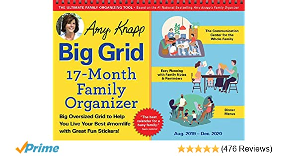 Free With Donation 18-Month July 2017 To December 2020 Wall Calendar 2020 Amy Knapp's Big Grid Family Organizer Wall Calendar: August