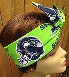 Seattle Seahawks Wired Dolly Bow Wire Headband Rockabilly Wire Scarf - Bandana
