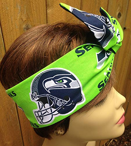 Seattle Seahawks Wired Dolly Bow Wire Headband Rockabilly Wire Scarf - Bandana by Sweet Beaches