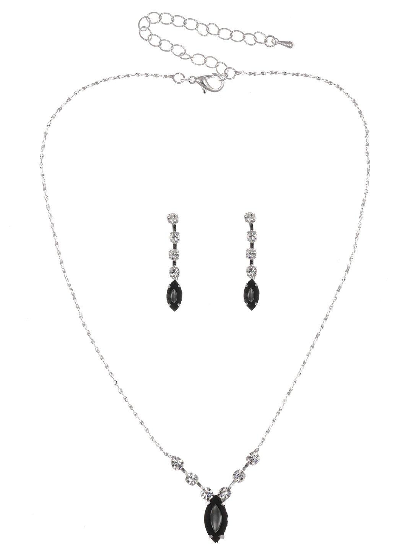 Simple Elegant Bridal Wedding Bridesmaid Prom Rhinestone Crystal Necklace Earrings Set - Black Crystals Silver Plated N323
