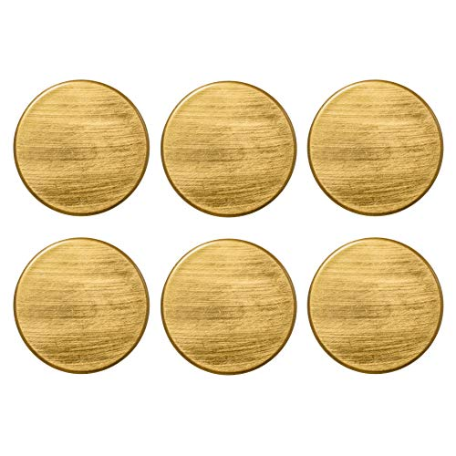 (Argon Tableware Coasters Set - Round Metallic Drink Coaster Mats - 100mm - Gold - Pack of 6)