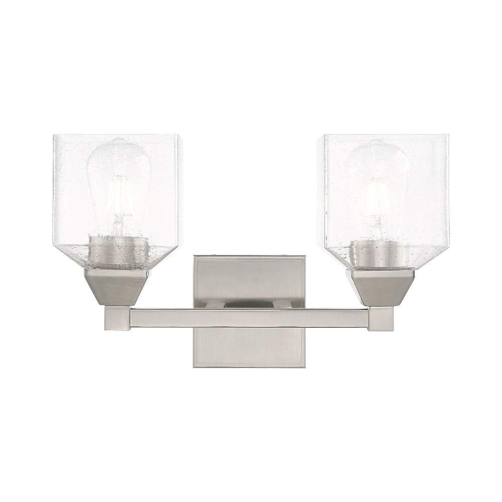Livex Lighting 10382-91 Aragon - Two Light Bath Vanity, Brushed Nickel Finish with Clear Seeded Glass