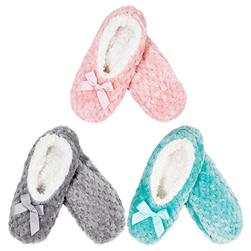 BambooMN - Adult Super Soft Warm Microfiber Cozy Fuzzy Slippers Non-Slip Lined Socks