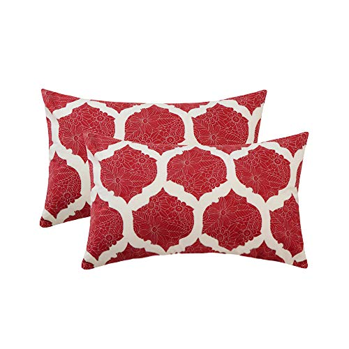 ow Pillows Covers Sets Cushion Cases for Couch Sofa Bed Soft Decorative Geometric Floral Wine Red Print 12 x 20 inch Pack of 2 Pillowcase ()