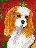 Caroline's Treasures SS4734CHF Cavalier Spaniel Red Green Snowflakes Holiday Christmas Canvas House Flag