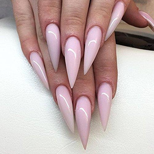Babysbreath Clear Nail Tips Stiletto Nails Full Cover Uñas falsas Long Artificial Clavos Press On Nails Para Mujeres Niñas Con Caja: Amazon.es: Hogar