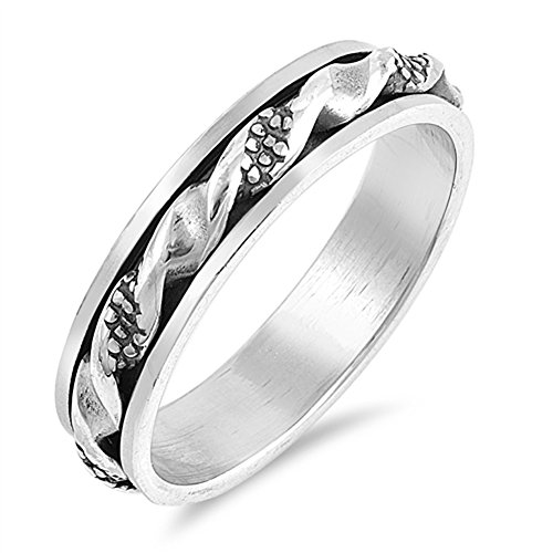 Wave Spinner Twisted Oxidized Bead Bali Ring 925 Sterling Silver Band Size 12