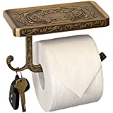 Neater Nest Reversible Bathroom Toilet Paper Holder with Phone Shelf and Hook, Vintage Decor Style (Bronze)