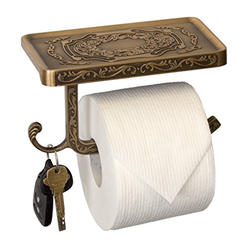 Neater Nest Reversible Bathroom Toilet Paper Holder with Phone Shelf and Hook, Vintage Decor Style (Bronze) ()