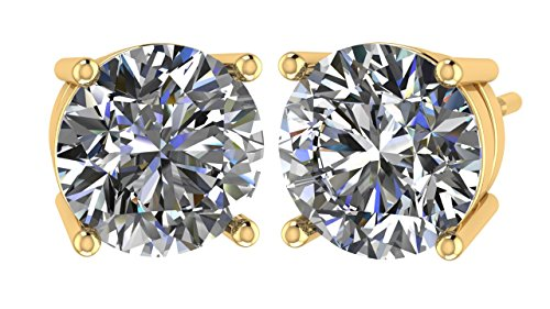 NANA 14k Gold Post & Sterling Silver 4 Prong CZ Stud Earrings -Yellow Gold Plated-5.5mm-1.50cttw ()
