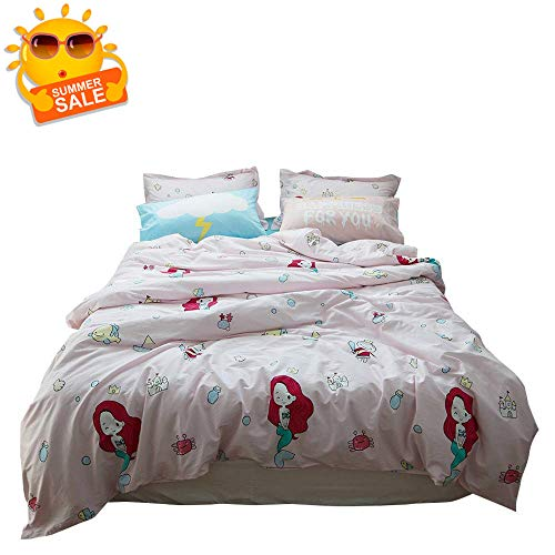 BuLuTu Mermaid Kids Girls Duvet Cover Twin Light Pink,3 Pieces 100% Cotton Premium Reversible Ocean Princess Bedding Sets Comforter Cover for Teen Toddlers with Zipper Closure,NO Comforter - Bedding Set Premium