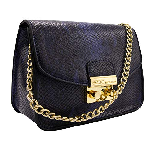 BCBGeneration Milly Small Navy Snake Crossbody Handbag for Women - Evening Bag, Purse with Chain Strap by BCBG