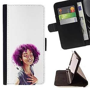 Idioma-Tech/tapa diario de piel sintética para Samsung Galaxy Core Prime - púrpura saquillo chica