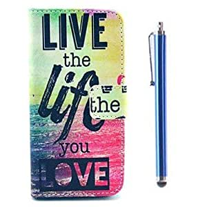 LCJ Letter Pattern PU Full Body Case with Card Slot and Stand for iPhone 5/5S