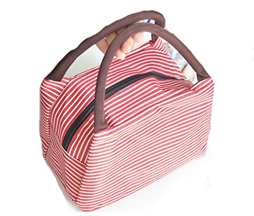 Oxford Cloth Water Proof Handbag Meal Bag for Travel Camping Work School Lunch Tote Bog Red