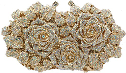 (Evening luxury crystal clutch purse rhinestone handbag 3 Roses XL Gold AB (AB Gold))