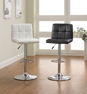 2 Swivel Elegant PU Leather Modern Adjustable Hydraulic Bar Stools Barstools