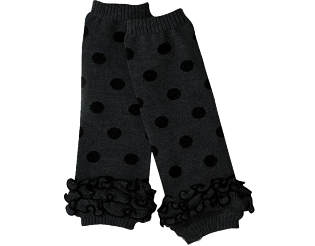 BONAMART Baby Leg Warmers, Ruffle Gray With Black Polka Dot for Infant Toddler Girl