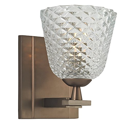 - Hudson Valley Lighting Grafton 1-Light Vanity Light - Brushed Bronze Finish with Clear Pressed and Etched Crystal Shade